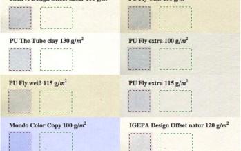 Opazität verschiedener Papiersorten